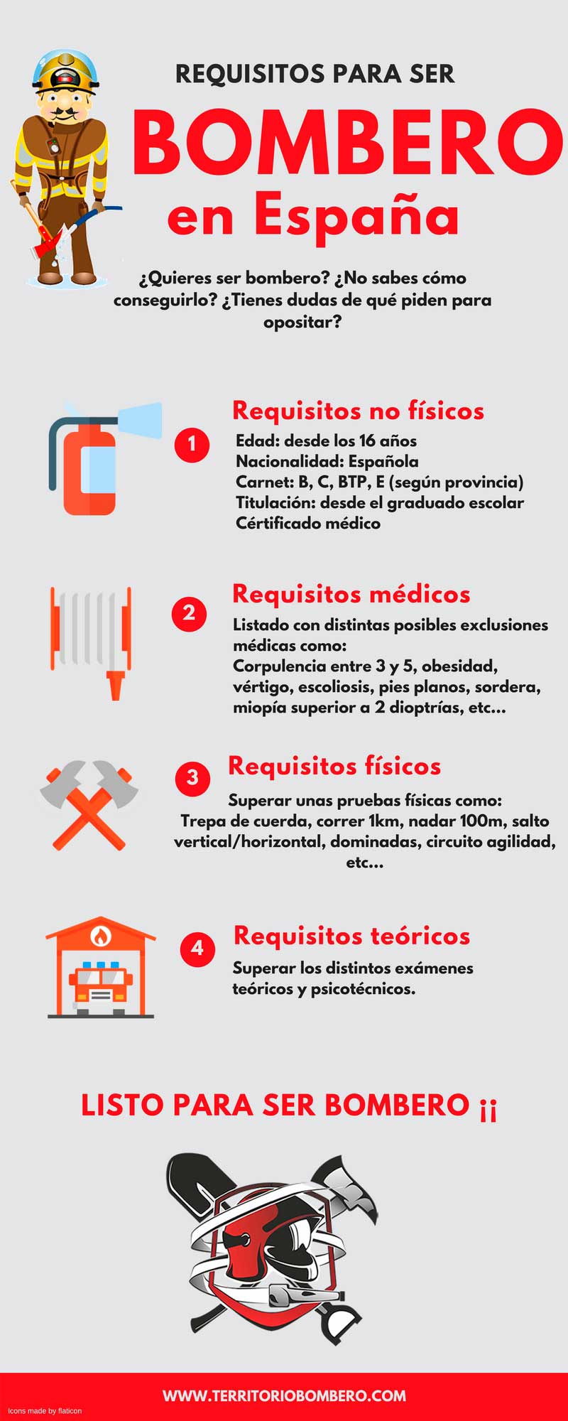 infografia requisitos ser bombero